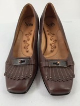 "Sofft Womens 8W Pumps Slip On Brown Leather 2"" Heels Stud Detail - $14.95"