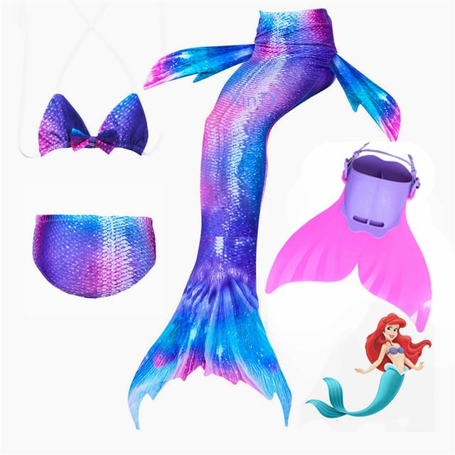 Kids Mermaid Fin Mermaid Monofin Tail Flipper Swimwear Swiming Cosplay Girl