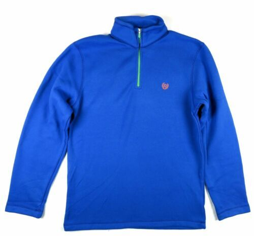 Small Men's CHAPS 1/2 Zip Pullover Poly Knit Fleece Shirt Bright Blue NEW