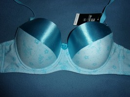 34C iBeautiful Blue Floral Mesh Overlay Convertible Foam Lined Underwire Demi  - $8.57