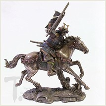 "Top Collection 9.5"" Samurai Riding Horse with Samurai Sword in Hand Statue in Co - $103.43"