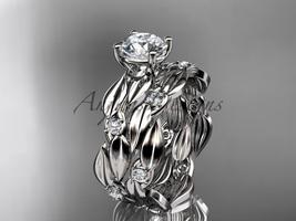 Platinum diamond leaf wedding set ADLR58S - $2,645.00
