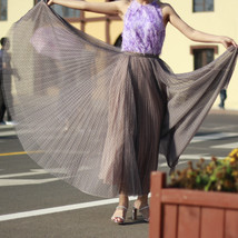 Women Full Pleated Long Skirt Pleated Tulle Tutu Skirt Party Tulle Outfits Plus  image 13