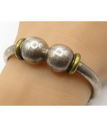 MEXICO 925 Silver - Vintage Two Tone Sphere Coil Detail Cuff Bracelet - ... - $113.00