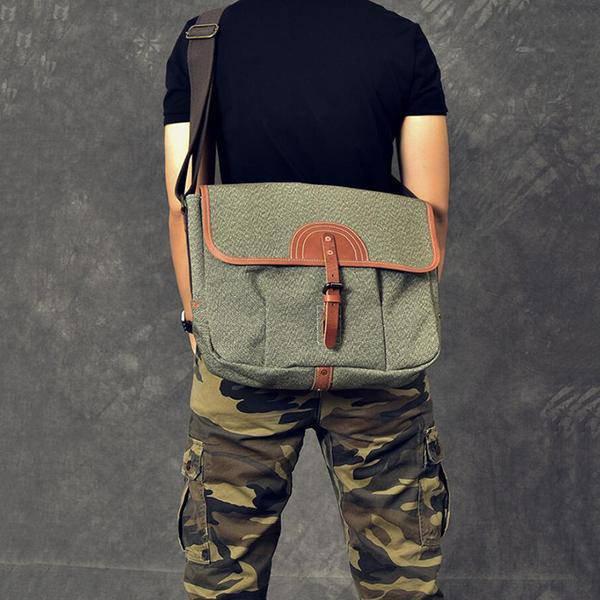 Sale, Canvas With Leather Messenger Bag, Large Capacity Shoulder Bag, Laptop Bag image 3