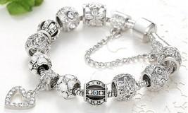 18K White Gold Plated Crystal Heart Charm Bracelet Made with Swarovski E... - $12.34