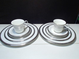 Noritake Lenore Platinum ~ Two 5 Piece Place Setting ~  Labels & Box ~ 1... - $69.95