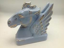 Pegasus Head Ceramic Figurine Lavender Gold Hand Painted Accents Vintage - $22.24