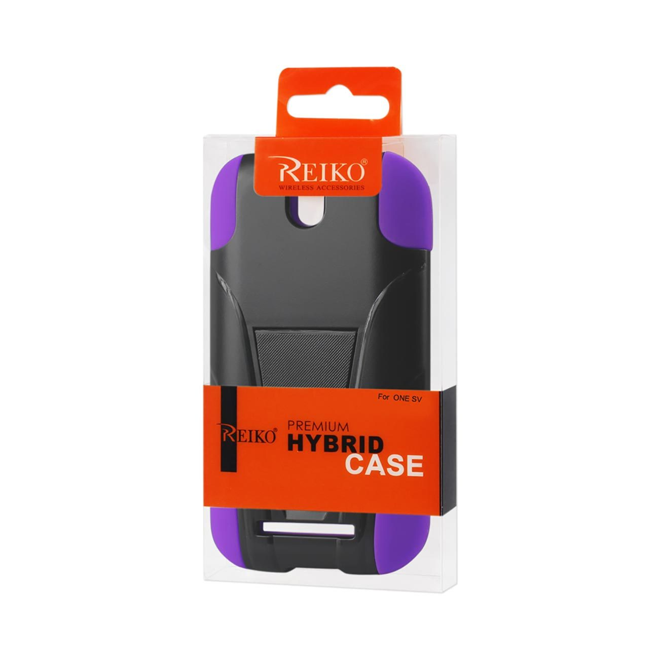 Htc One Sv Hybrid Heavy Duty Case With Kickstand In Black Purple