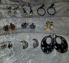 lot of vintage earrings clip on and pierced moons Signed Deft Rhinestone... - $18.00
