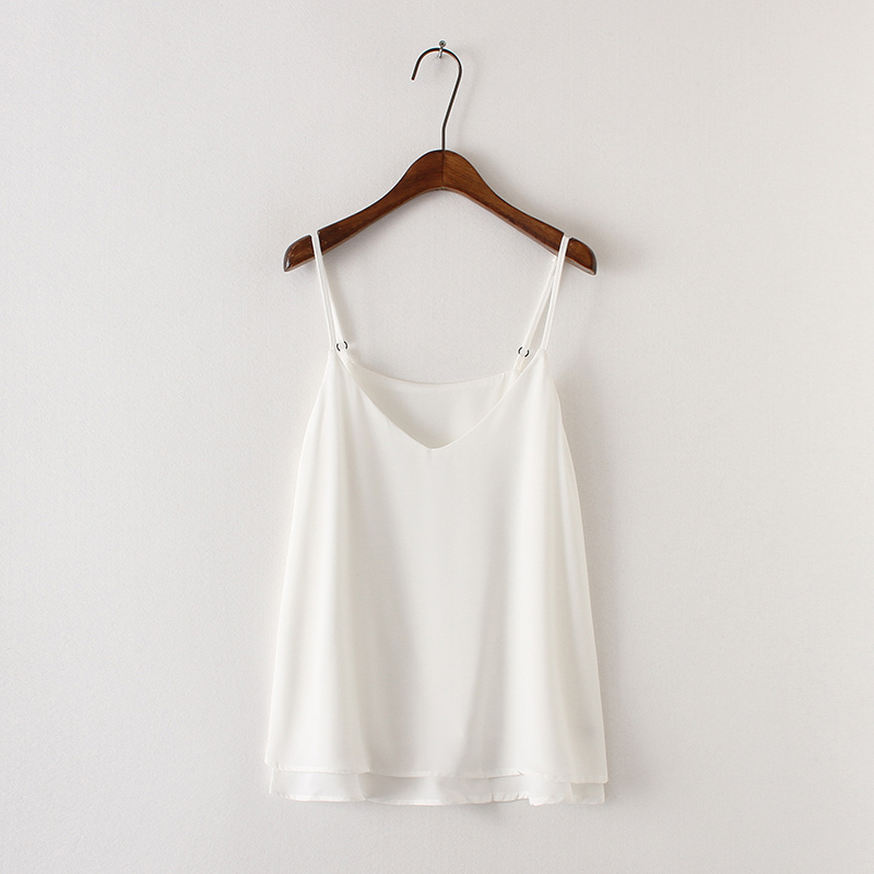 PLUS SIZE White Sleeveless Chiffon Tops Summer White Tanks Plus Size Chiffon Top