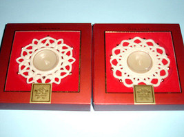 Lenox Snowflake Votive Tealights 2 PC. SHINE & SHIMMER Sculpted Snow Lig... - $26.90