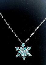 "Vintage Silver Tone BLUE SNOWFLAKE  RHINESTONE Pendant and  22"" chain - $15.99"