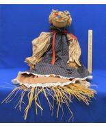 Vintage Handmade Straw Rag Doll Navy Blluw Tan Country Fabric Dress Stra... - $12.86