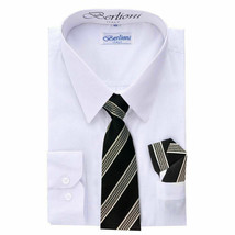 Berlioni Italy Kids Boys Long Sleeve White Dress Shirt Set With Tie & Hanky - 16