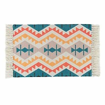 HEBE Cotton Area Rug 2'x3' Machine Washable Modern Printed Woven Cotton ... - $20.05