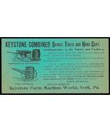 Keystone Farm Machine Works, York PA Truck Cart Barrel Farming 1890s Agr... - $24.99