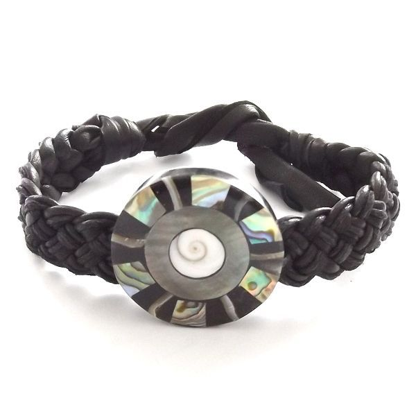 BLACK LEATHER WOVEN TIE ON FRIENDSHIP BRACELET WITH ABALONE SHELL PEARL DISC