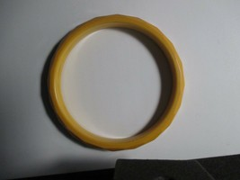 Vintage Bakelite Bangle Mustard Yellow Faceted Tested - $27.09