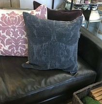 Pottery Barn Colette Pillow Cover Charcoal 22 sq Chenille Textured Colle... - $49.50