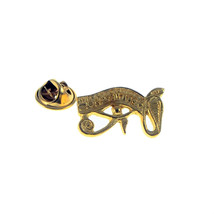 Egyptian Wadjet Eye Gilt Pewter  Lapel /tie Pin Badge  with clip