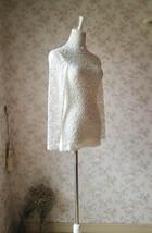 Women Retro Mock Neck Long Sleeve Floral Lace Blouse Wedding Bridesmaid Blouse image 3