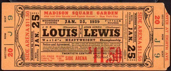 JOE LOUIS vs JOHN LEWIS  Heavyweight Championship Full Ticket Jan 25,1939 RARE