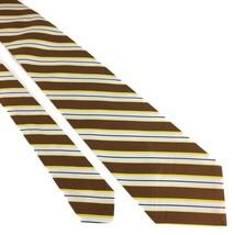 Wembley (NT-002) Necktie Wide Black Brown Gold Polyester Striped Vintage - €10,27 EUR