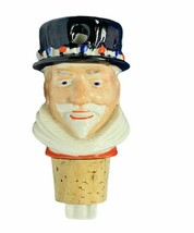 Bottle stopper pourer cork England Beefeater gin UK Wade figurine beard ... - $29.65