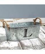 Galvanized Monogram Bucket L - $13.65