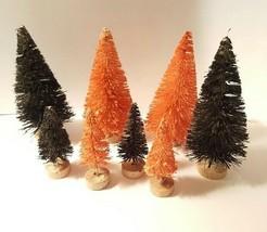 LOT 8 Mini Black & Orange HALLOWEEN Spooky Miniature Sisal Bottle Brush ... - $13.06