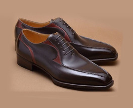 Dark Maroon Red Superior Leather Customized Oxford Men Lace Up Vintage Shoes - $139.90+