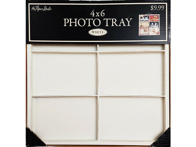 The Paper Studio Wooden Photo/Memory Tray, White, Perfect for Photos/Mixed Media