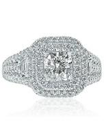 2.19 Ct Cushion Cut Halo Trapezoid Side Diamond Engagement Ring 14k Whit... - $4,474.57