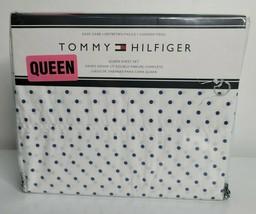 TOMMY HILFIGER Designer QUEEN Sheet Set Blue White Polka Dots NEW Cotton... - $59.99