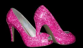 Peep Toe Heels Bright Hot Pink Crystal Sparkly Bridal Shoes Fuchsia Wedd... - $135.00