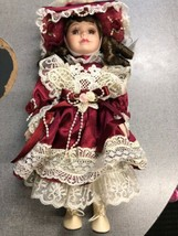 porcelain hand made doll glass eyes Red 13 inches New Unique - $19.99