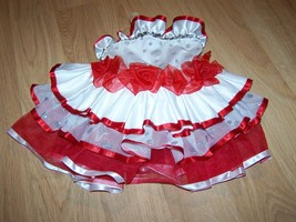 Child Size XS Curtain Call Costumes White Red Silver Dance Leotard Tutu ... - $38.00