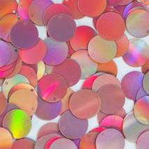 Round Sequin Paillettes 15mm Top Hole Pink Lazersheen Reflective Metallic - $14.97