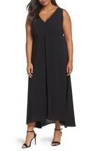 Adrianna Papell V-Neck Chiffon Overlay Jumpsuit Sz 16W ($200) Black - $99.92