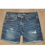 "AMERICAN EAGLE Sz 4 Denim Jean Shorts Waist: 31"" Distressed Cutoff Bermuda - $14.50"
