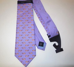 Tommy Hilfiger new Silk Neck Tie Whale Motif Print Purple NWT - $22.25