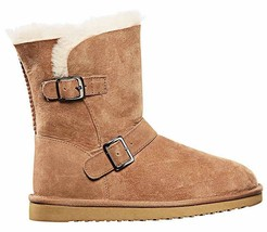 Kirkland Signature Ladies Chestnut Brown Sheepskin Shearling Winter Buckle Boot image 2