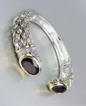 STUNNING Designer Inspired Black Onyx CZ Crystals Balinese Cuff Bracelet - $39.99
