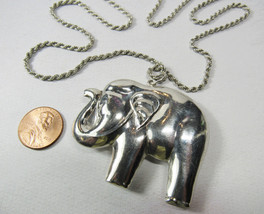 Sterling Silver Large Elephant Trunks Up Good Luck Pendant Necklace 26.1... - $45.54