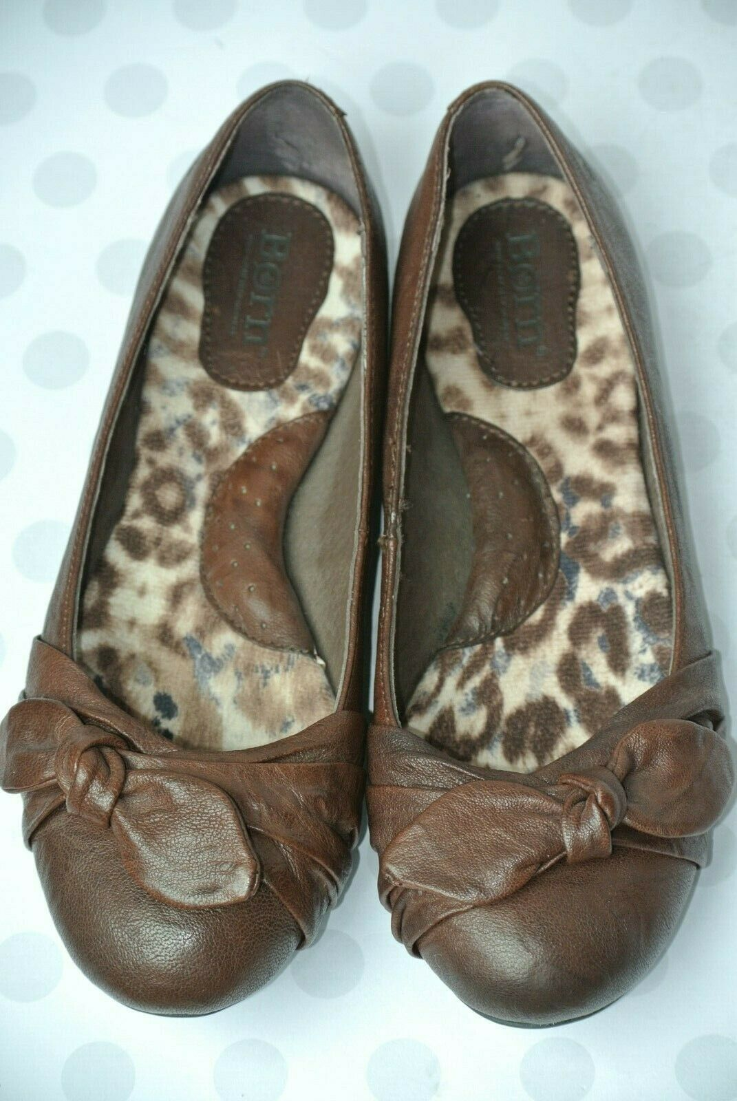 BORN Adele Womens Sz 7 / 38 Brown Leather Bow Ballet Flats NICE!!