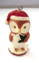 Vintage Winter Owl Bird Ornament  Santa Hat and Holly Leaf - $9.99