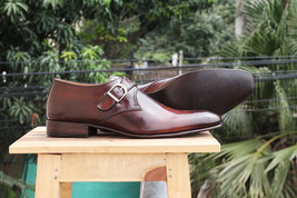 Handmade Men's Brown Monk Strap Dress/Formal Leather Shoes image 3