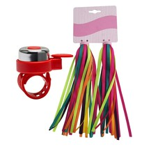 Besble 2Pairs Streamers Ribbons+ 1 Bicycle Bell Set Sco Grips Tassels  - $23.99