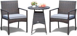 Small Bistro Set Outdoor Rattan Patio Armchair Table Wicker Chair Seat F... - $228.93